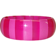 Vintage Hot Pink Tone-on-Tone Cased Lucite Bangle Bracelet