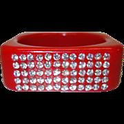 SALE Vintage Lipstick Red Square Lucite Bracelet with Rhinestones