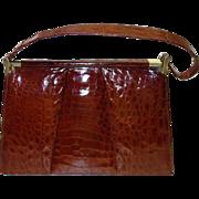 SALE Gorgeous Cognac Alligator Skin Frame Handbag