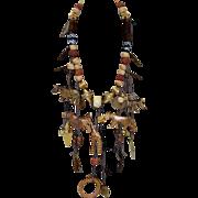 Vintage Boho Mixed Media Animal Dangle Necklace