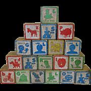 40 Vintage Assorted Wooden ABC Blocks