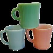 Three Vintage Fire King Mugs 1940's-50's