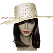 SALE Vintage Jack McConnell Straw Hat with Beads and Rhinestones