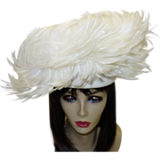 SALE Vintage Jack McConnell Couture White Feather Hat with Original Red Feather Hang Tag