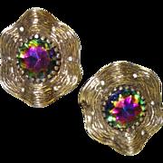 Vintage Watermelon Stone Clip Earrings