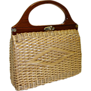 SALE Vintage Woven Wicker Purse Hand Made in British Hong Kong