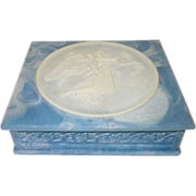Vintage Blue Incolay Stone Hinged Jewelry Box