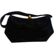 SALE Vintage 1940's Black Genuine Corde' Purse