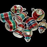 SALE 9 USA Striped Shapes Mercury Glass Christmas Ornaments