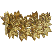 SALE Vintage Gold Tone Metal Leaf Bracelet