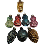 SALE RARE 1935-40's American Fancy Molded Glass  Christmas Ornaments