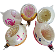 Five Vintage Hand Painted Single Indent  Christmas Ornaments Poland