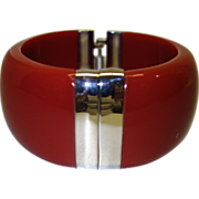 SALE Red Lucite and Silver Tone Metal Clamper Bracelet