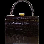 Glossy Dark Brown Framed Alligator Purse by Bellestone MINT