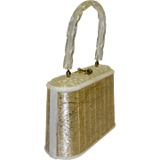Exquisite Slim Lucite Purse with Embedded Metallic Gold Threads and Stars