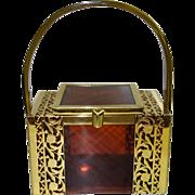 SALE Vintage Tyrolean Tortoiseshell and Gold Filigree Lucite Box Purse
