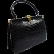 SALE Vintage Bellestone Black Reptile Structured Purse