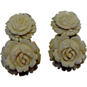 Vintage Carved Celluloid Rose Dangle Earrings