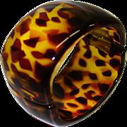 SALE Vintage WIDE Tortoiseshell Colored Lucite Hinge Bracelet