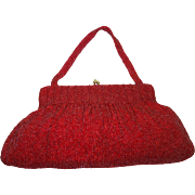 SALE Stunning Extra Large Red Glass Beaded Bag Made in Belgium