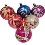SALE Box 6 Poland Hand Blown and Decorated Christmas Tree Ornaments