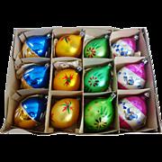 SALE Vintage Box of 12 Poland Fantasia Teardrop Christmas Ornaments