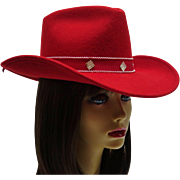 Vintage Sonni San Francisco Red 100% Wool Felt Hat MINT with Original Tag