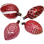 1930's Germany Molded Glass Christmas Ornaments