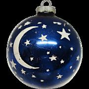 SOLD JUMBO Shiny Brite Cobalt Blue Glass Stars and Moon  Christmas Ornament