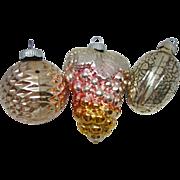 Three Vintage Shiny Brite Figural Glass Christmas Ornaments