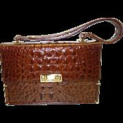 SALE Vintage Brown Italian Leather Expansion Purse