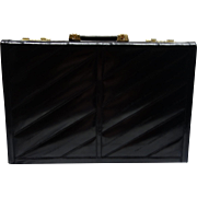 SALE Vintage Black Eel Skin Briefcase