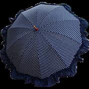 Vintage 1930's Ruffled Polka Dot Umbrella signed F.U.M.C PHILA PA