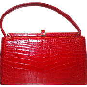 Vintage RARE Stunning Red Porosus Crocodile Frame-Bag by Lucille de Paris for I. Magnin & Co.