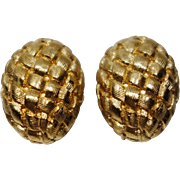 Kenneth Jay Lane Gold Tone Metal Basketweave Clip-On Earrings