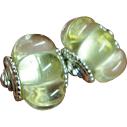 Vintage Scalloped Clear Lucite Clip-On Earrings by Kenneth Jay Lane