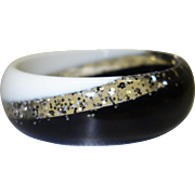 Black and White Glitter Lucite Bangle Bracelet