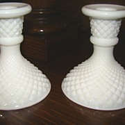 Circa 50s Westmoreland Milk Glass English Hobnail Candle Holders