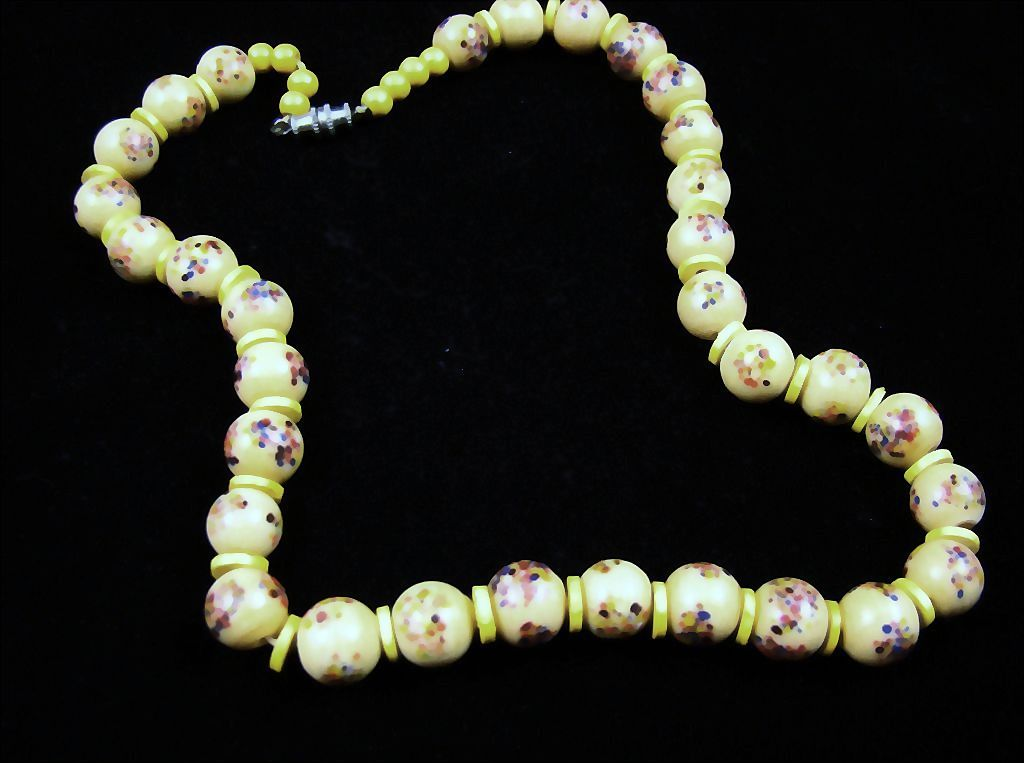 Art Glass Bead Necklace with Yellow Accents