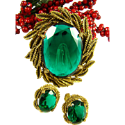 Large Emerald Green Glass Brooch and Earrings