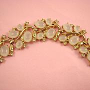 Stunning Opalescent Clam Broth Cabochon & Rhinestone Bracelet