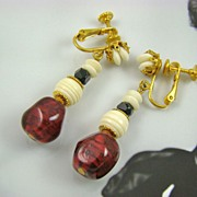 Cranberry and Ivory Colored Bead Dangle Earrings ~ Miriam Haskell