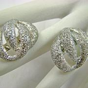 Goldette Glitter Look Silvertone Earrings