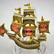 SALE Spanish Damasquinado Pirate Ship Brooch~Toledoware~Signed