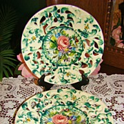 Floral Reticulated Majolica Cabinet Plates ~ Italy ~ Made for Weil Company