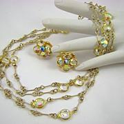 Stunning Unsigned Swarovski Aurora Borealis Crystal Bezel Necklace and Earrings