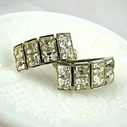 SALE Princess Cut Rhinestone Earrings