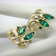 SALE Emerald Rhinestone Earrings by Lisner