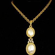 Rare Stunning Crown Trifari Pendant and Chain~ Imitation Pearls and Rhinestones