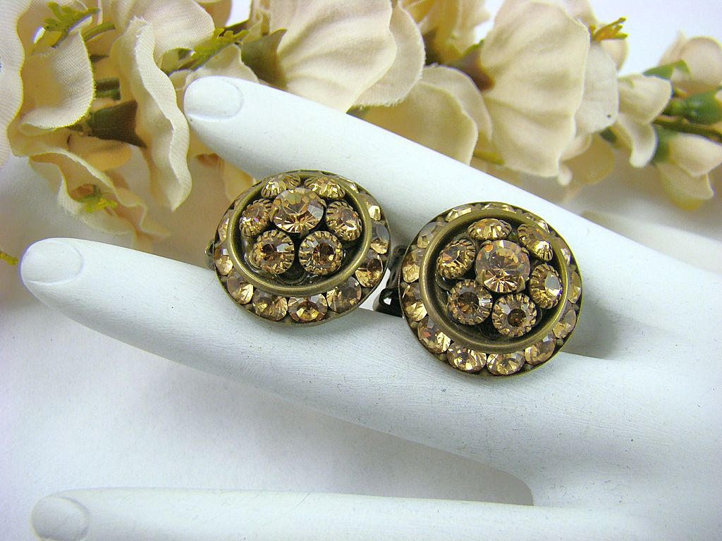 Mistar Bijoux Champagne Swarovski Crystal Earrings